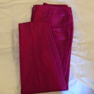 Raw silk hot pink ankle pants from Talbots.